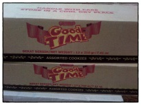Buying Assorted Good Time cookies for workers