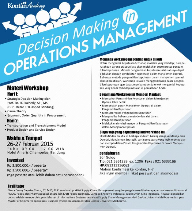 Decision Making in Operations Management 2015