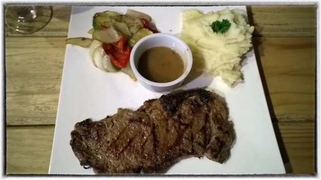 Sirloin Steak with Mushroom Sauce and Mass Potato